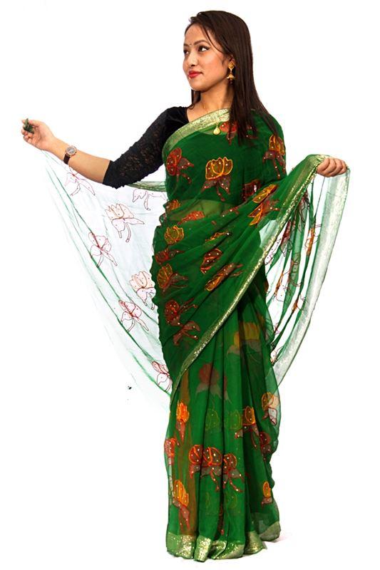 Printed Chiffon Saree with Thread Work and  Zari Border with Stone Work - SareeNiva-01-3