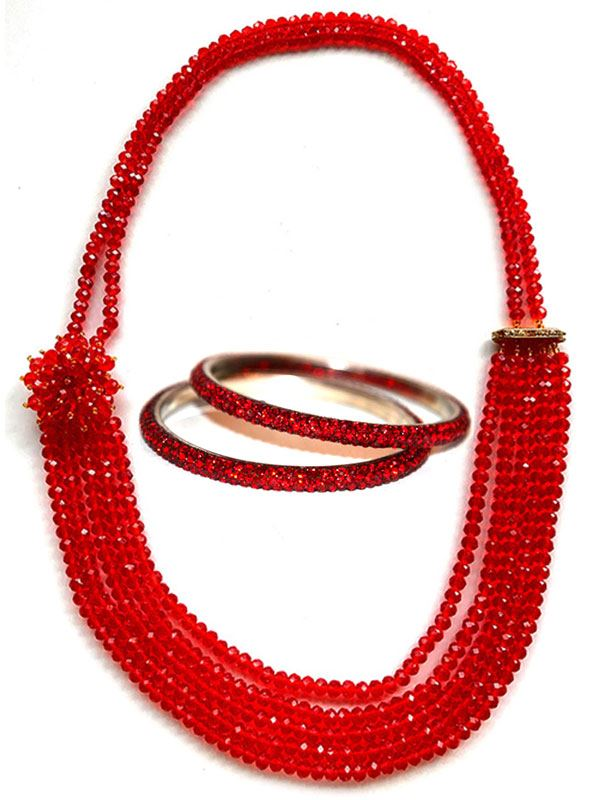 Red Multi Layer Potey Necklace with Crystal Bangles