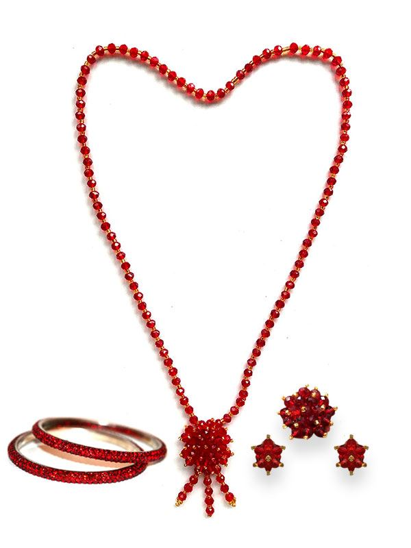 Red Potey Necklace with Potey Bangles, Earrings and Ring